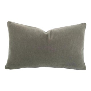 "Solid Gray Mohair Lumbar Pillow Cover - 12"" X 20"" For Sale"