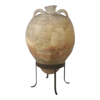 Large Terra Cotta Amphora on Later Steel Stand For Sale