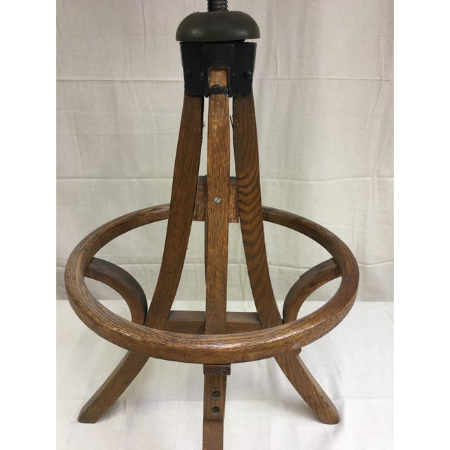 Industrial Antique Industrial Bentwood Adjustable Height Oak Cane Seat Swivel Stool For Sale - Image 3 of 5