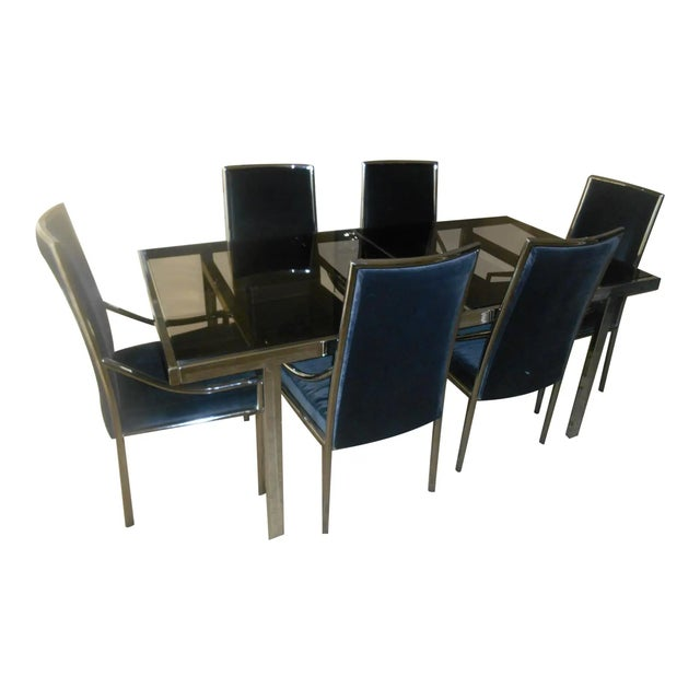 Metal Mid-Century Modern Chrome & Glass Expandable Dining Table Set - 7 Pieces For Sale - Image 7 of 7