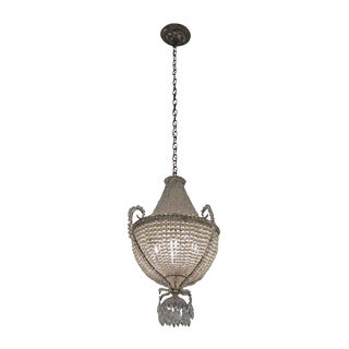 1920s Basket Crystal Chandelier