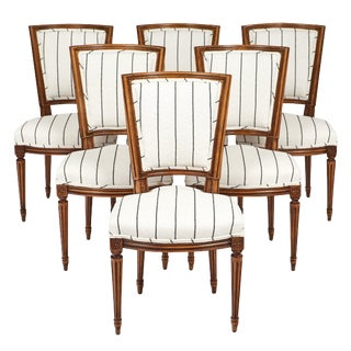 Set of Six Louis XVI Style Striped Dining Chairs For Sale