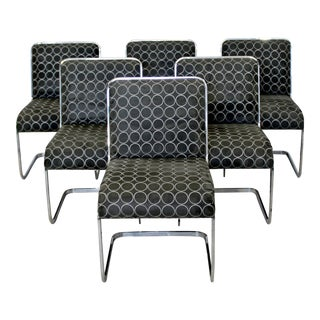 1970s Mid Century Modern Brueton 6 Cantilever Side Chairs - Set of 6