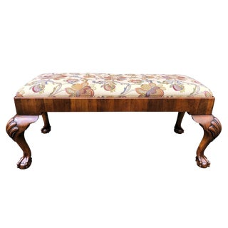 Shell Knee & Claw Feet English Chippendale Bench For Sale