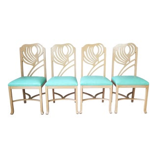 1980s Sculptural Wood Dining Chairs - Set of 4 For Sale
