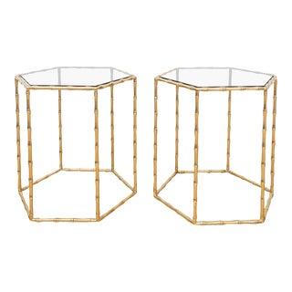 Maison Baguès Style Brass Tables - A Pair For Sale