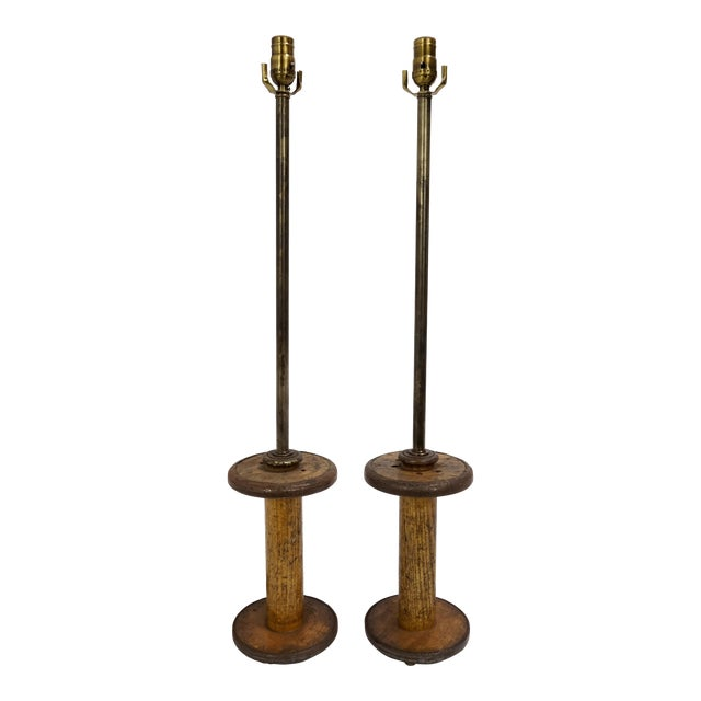 Vintage Spools Converted to Table Lamps - A Pair For Sale