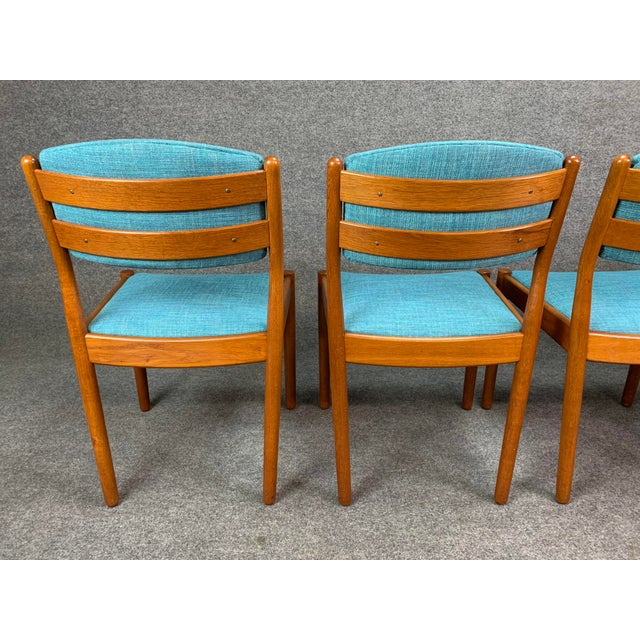 Turquoise 1960s Vintage Poul Volther Danish Modern Oak Dining Chairs- Set of 4 For Sale - Image 8 of 11