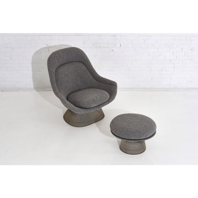 Warren Platner for Knoll lounge chair with ottoman. Reupholstered in gray boucle.