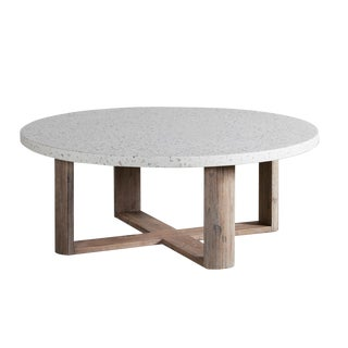 Terrazzo & Acacia Round Coffee Table For Sale