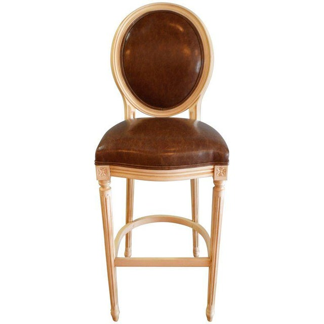 Louis XVI Style Painted Oval Back Bar Stool for Custom Order For Sale - Image 9 of 9