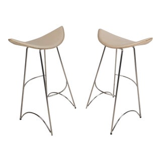 Pair of Vintage Modern Curved Seat Bar Stools