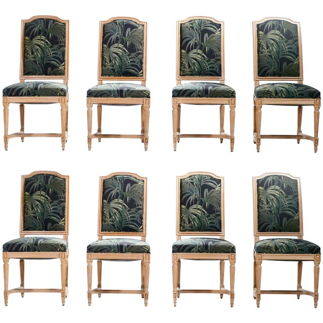 Set of Eight Louis XV Style Chairs, 1950s For Sale