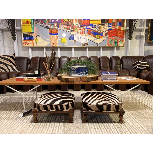 Modern Vintage Footstools Restored in Zebra Hide - Pair For Sale - Image 3 of 7