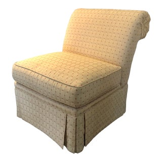 Traditional Style Skirted Slipper Chair For Sale