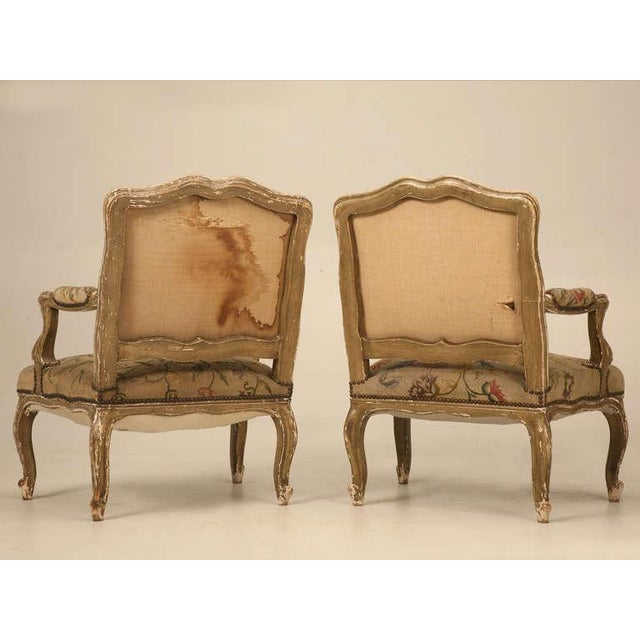 Original Paint Antique Italian Armchairs with Needlepoint - a pair For Sale - Image 9 of 10