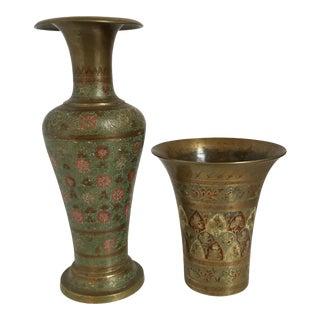 Brass Cloisonné Urn Vases - A Pair