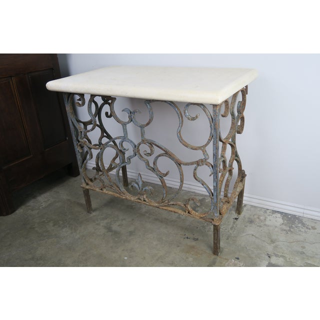19th C. French Wrought Iron Console For Sale In Los Angeles - Image 6 of 12