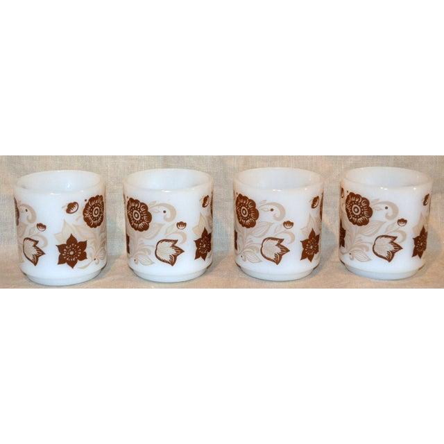 Set of 4 vintage Glasbake mugs with brown flowers. So cute!