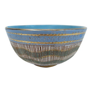 "Vintage Mid-Century Modern Italian Bittossi Ceramic Glazed ""Sgraffito"" Decorative Bowl For Sale"