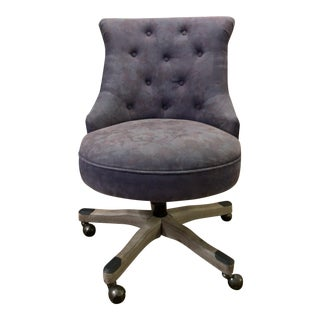 Vintage Gray Button-Tufted Home Office Chair