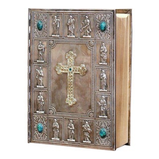 Midcentury French Holy Bible With Silver Plated Repousse Cover Dated 1960 For Sale