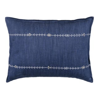 Stitch Stripe Indigo Pillow For Sale