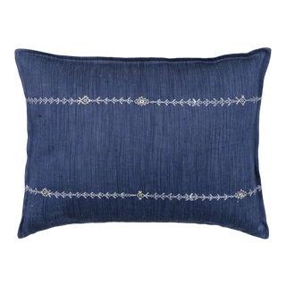 Stitch Stripe Indigo Pillow For Sale
