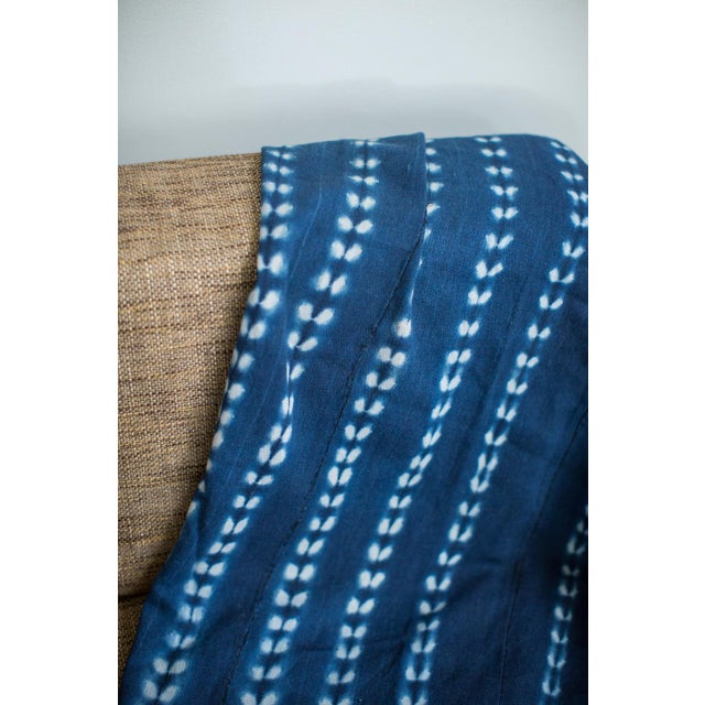 Vintage Hand Woven Batik Blue Throw - Image 4 of 5