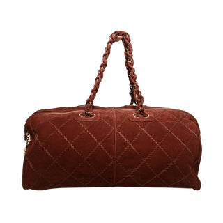 Chanel Maroon Suede Quilted Leather Duffel Tote Bag For Sale
