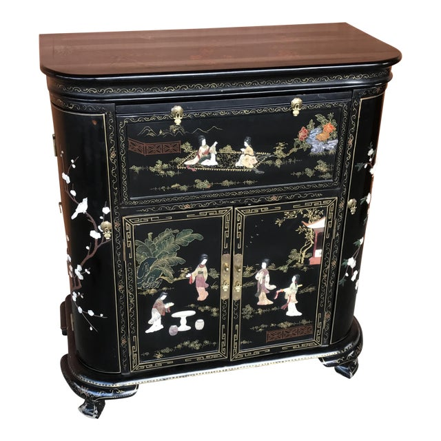 Lacquer and Inlay Hardstone Chinese Dry Bar For Sale