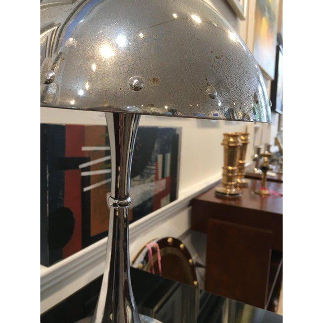 Mid 20th Century Mid-Century Modern Chrome Table Lamp With Rivets For Sale - Image 5 of 7