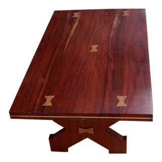 American Craftsman's Table of Exotic Woods With Great Form For Sale