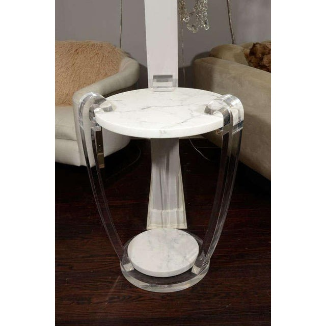 Lucite Pair of Lucite and Hoaned Marble Side Tables For Sale - Image 7 of 7