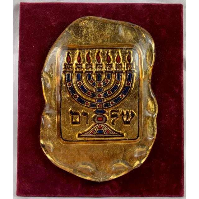 Late 20th Century Murano Glass Judaica Gold Menorah Plaque For Sale - Image 5 of 5