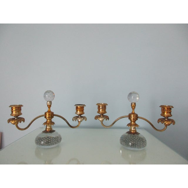 Pairpoint Gilt Metal and Bubble Glass Candelabras - A Pair For Sale - Image 13 of 13