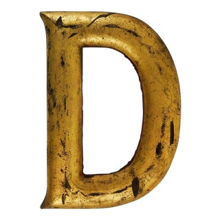 Antique Distressed Carved Gilt Wood Letter D Sign For Sale