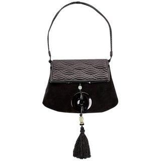 Yves Saint Laurent Tom Ford Black Suede Patent Leather Jade Tassel Bag, 2004 For Sale