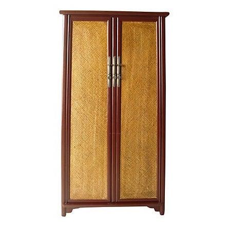 Cantonese Rattan Door Armoire - Image 1 of 6