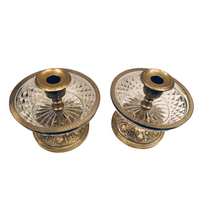 Neoclassical 1940s Baccarat Dore Bronze Candleholders- a Pair For Sale - Image 3 of 6