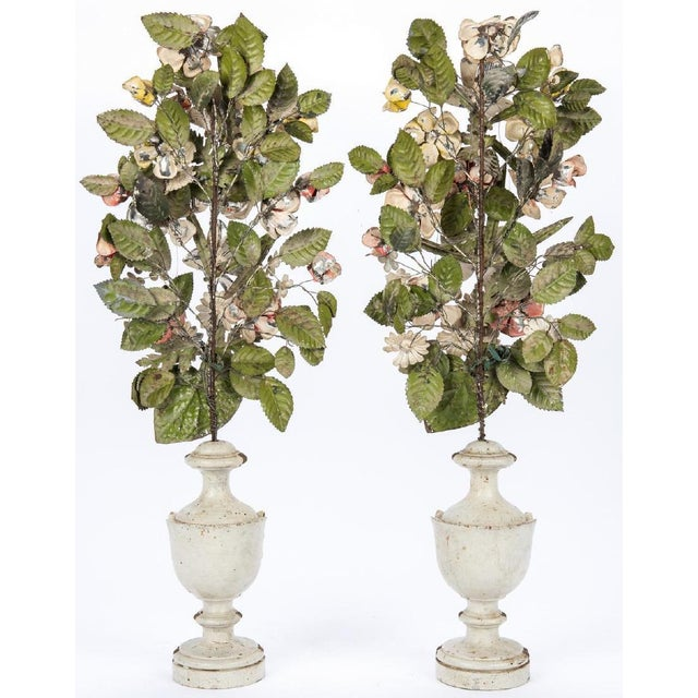 This is a beautiful pair of Tole Peinte Topiaries. Each comprises a spray or beautiful and delicate painted metal flowers...