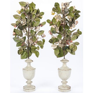 (Before Delist) Antique Pair of French Painted Tole Topiaries Preview