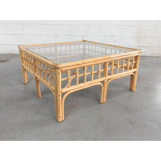 Available for purchase, a vintage boho chic rattan coffee table. The table is in overall great vintage condition, from a...