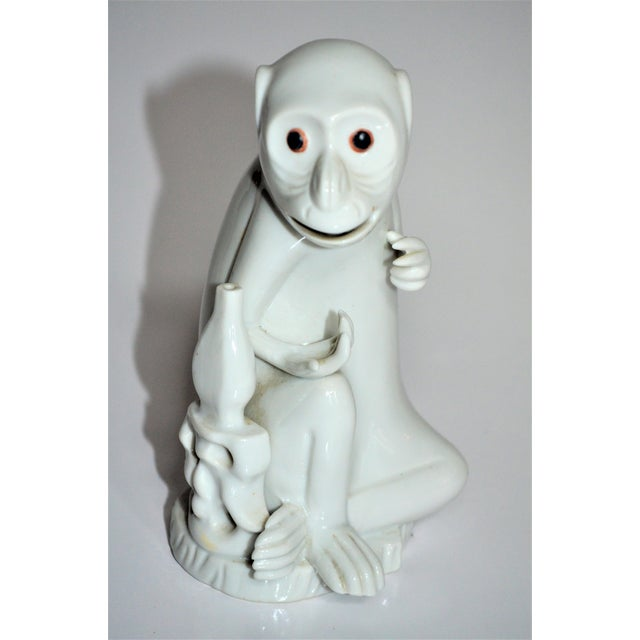 Vintage Italian White Porcelain Monkey Figurine For Sale - Image 9 of 10