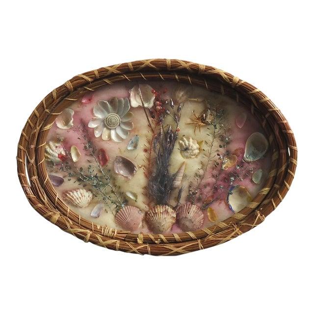Antique Pine Needle Basket & Seashell Vanity Tray For Sale