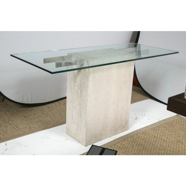 Travertine and Chrome Console Table by Ello - Image 2 of 9
