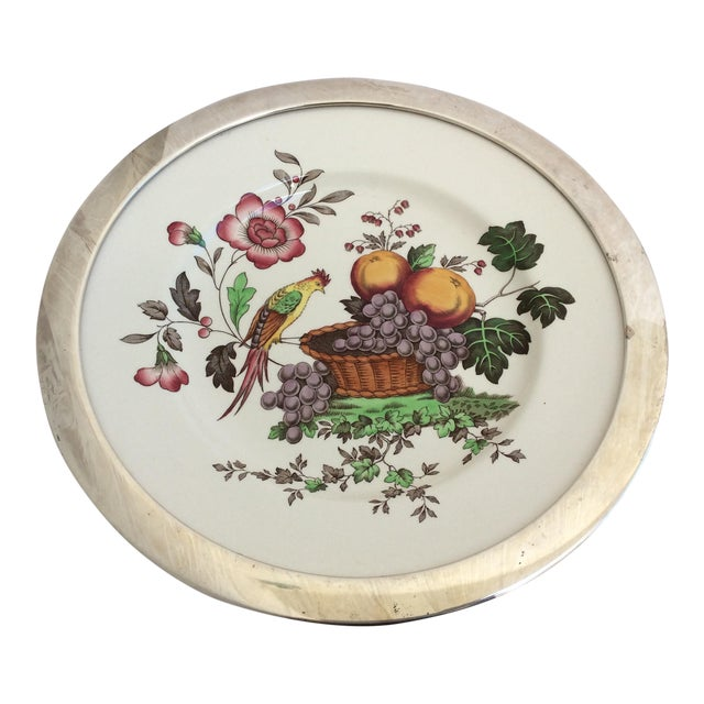Antique Spode Bird Plate With Sterling Silver Rim For Sale