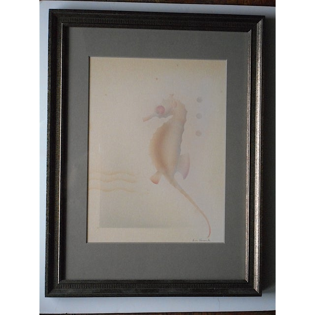 This vintage original airbrush painting by Don Howard depicts a seahorse. It is signed and framed beautifully with acid-...
