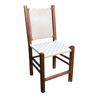 Vintage Teak and Woven Canvas Strap Side Chair For Sale