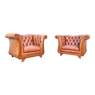 1970s Art Deco Huge Leather Tufted Club Chairs - a Pair